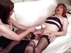 Kinky TGirl teased by vibrator