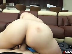 Cute blonde stepdaughter gets fucked by her horny stepdad tube porn video