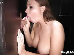 Teen girl sucks cocks like a pro in gloryhole
