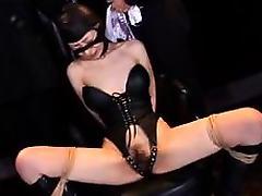 Kinky Oriental wife in lingerie explores her bondage fetish porn tube video