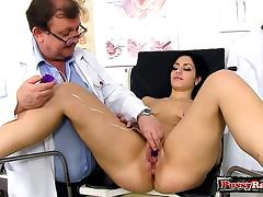 Brunette doctor gaping with cumshot porn tube video