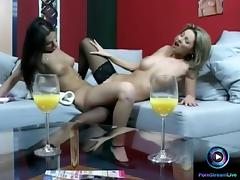 Lesbian actions featuring Caroline Cage and Eve Angel tube porn video