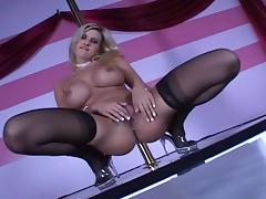 Busty Blond Stripper Dances Around Pole porn tube video