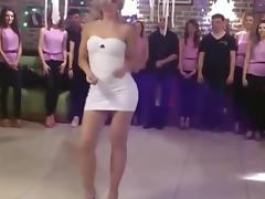 A porn party: sexy blonde in very sexy tight sexy dress dancing porn tube video