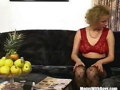 Blonde MILF Sexy Stockings Fucks A Man In Pink Thong tube porn video