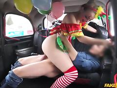 Driver Fucks Cute Valentine Clown - FakeTaxi