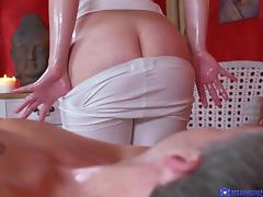 naughty masseuse has a cute bum
