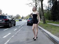 Angie Lee street prostitute in mini skirt and high heels tube porn video