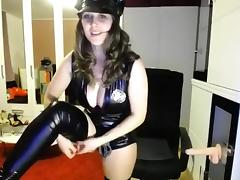 Sexy blonde slut in cop costume teasing and seducing on webcam