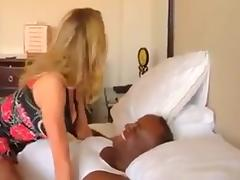 Blonde babe talks dirty to hubby as she rides bbc porn tube video