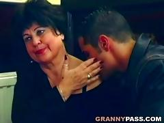 Beautiful granny gets fucked on the table