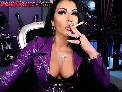 Hot Dominatrix Smoking A Cigarette On Webcam porn tube video