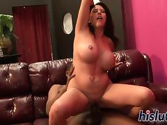 Naughty interracial action with a busty brunette porn tube video