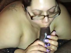 Fat latina ssbbw cutie gives sloppy wet blow job to bbc