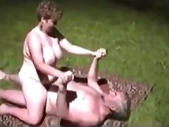 Grandparents fuck outside tube porn video