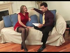 Hot cougar in stockings likes it junior and hard