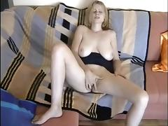 Cock sucking blonde riding cock and have doggy style sex with horny guy