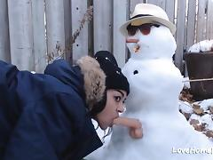 Teen Places Trips it and a Dildo on the Snowman