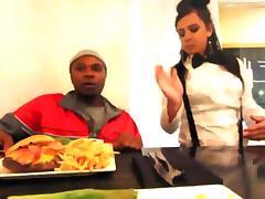 Waitress takes a BBC break behind the restaurant