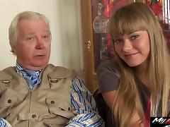 Nesti Shy and Sveta enjoying the touch of an older man porn tube video