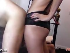 Femdom Strapon Jane fucks horny gimp ass as he wanks and cum porn tube video