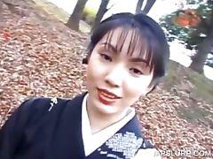 Cute geisha talked into having sex
