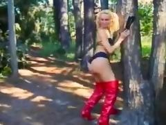 Outdoor sex with a TS in red latex boots