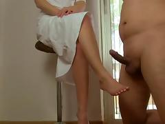 CFNM, Amateur, CFNM, Footjob, Masturbation