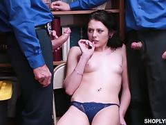 Teen, Brunette, Police, Teen, Threesome