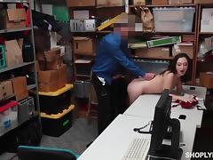 Caught, Blowjob, Brunette, Caught, Police, Shop