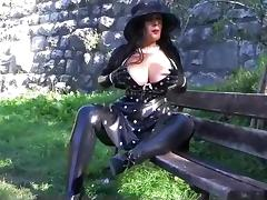 Busty Polka Dot Diva - Public Blowjob Handjob with Latex Gloves - Cum on my Gloves porn tube video