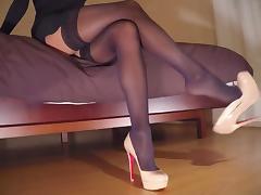 Teasing in high heels & stockings