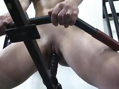 Innovative Gym Masturbation with a Dildo