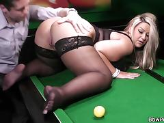 Big tits blonde gets banged on the table