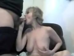 Mature wife masturbate and suckings a dick to her husband.