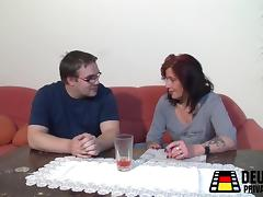 Mature Redhead and the young boy