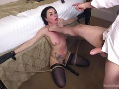 sub gets tied to the bed and used as a blowjob hole tube porn video
