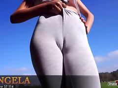 Slim beauty in grey tights
