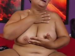 BBW Granny rubbing her pussy tube porn video