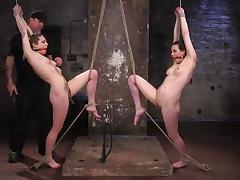 two ball gagged slaves tied up and tortured by the master