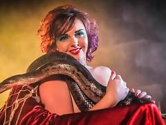 Naked Larah Jane with Snake