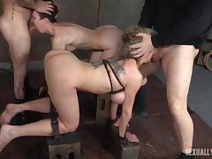 sex slaves have their mouths used as fuckholes by the doms