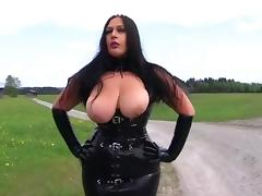 Dirty Latex Bitch in the Mountains - Blowjob Handjob with Long Black Latex Gloves - Fuck my Tits - Cum on my Tits