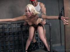 submissive blonde bombshell is tied and fucked from behind porn tube video