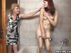 Teen riding old cock after pussy toying in the bathroom porn tube video