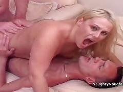 Two repair men fuck a blondes ass and pussy at the same time porn tube video