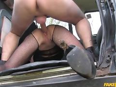 busty milf in fishnet fucked on the trunk of the taxi van porn tube video