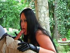 Beauty in green latex doing a blowjob handjob - Cum in my FACE porn tube video