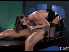 Big Tit Brunette Cougar at work