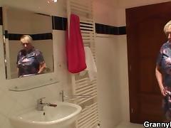 He doggy-fucks horny old blonde grandma
